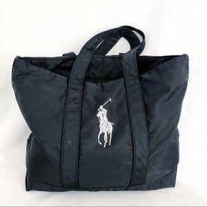 Ralph Lauren Polo nylon tote bag black silver pony